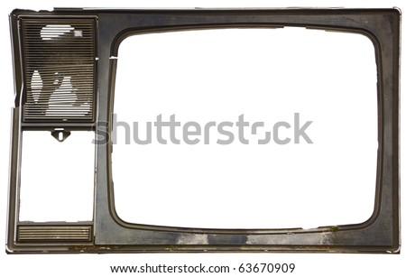 Old dirty frame of broken TV - stock photo