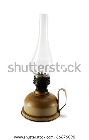 Old dirty kerosene lamp on white background - stock photo