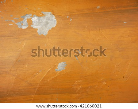 Old dirty orange wall crack - stock photo