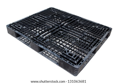Old dirty plastic pallet black color - stock photo