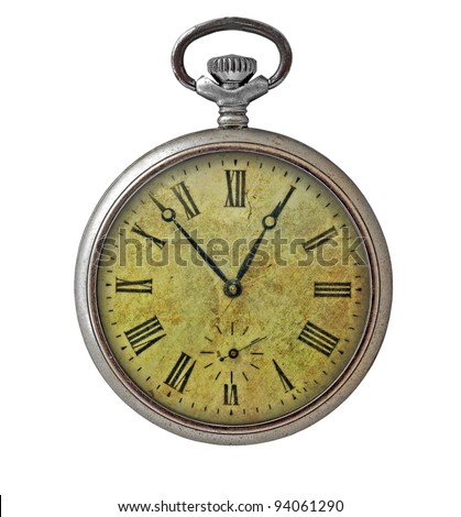 Old dirty pocket watch isolated on white - stock photo
