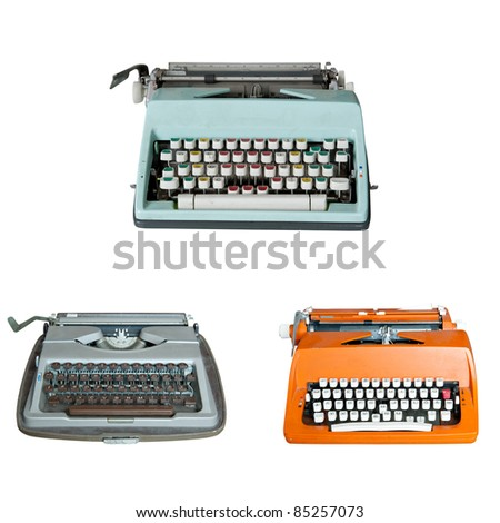 Old dirty Retro typewriter isolated  on white - stock photo