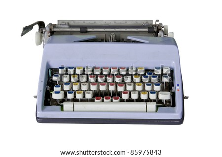 Old dirty Retro typewriter with clipping path isolated on white - stock photo