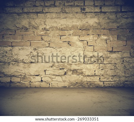 old dirty room with brick wall, vintage background, retro filtered, instagram style - stock photo