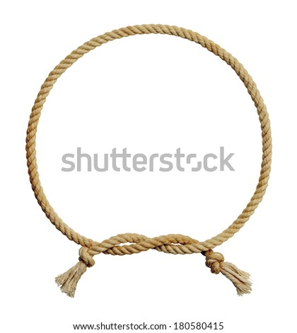 Old Dirty Rope Circle Frame Isolated on White Background.