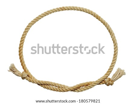 Old Dirty Rope Oval Frame Isolated on White Background. - stock photo