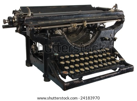 Old dirty rusty black mechanic typing machine with cyrillic characters isolated on white - stock photo