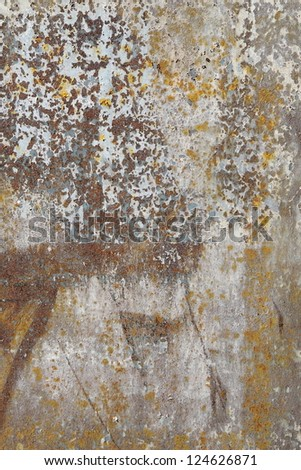 Old dirty rusty metal with peeled  paint background