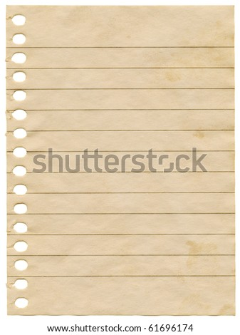 Old dirty stained blank notepaper page isolated on a white background. - stock photo