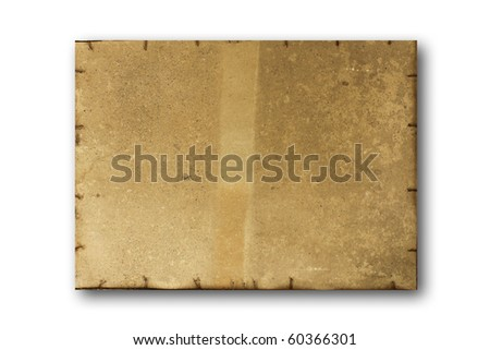 Old dirty stained blank torn paper isolated on a white background. - stock photo