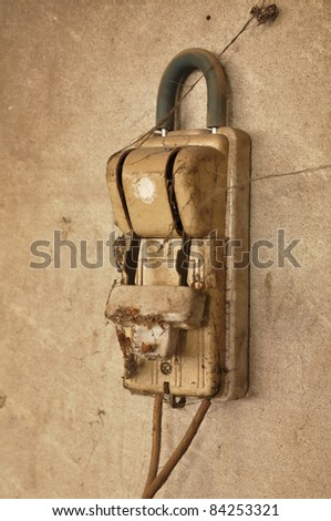 Old Dirty Wall Switch Knife - stock photo