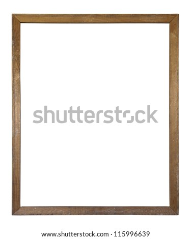 Old dirty wooden picture frame with clipping path - stock photo
