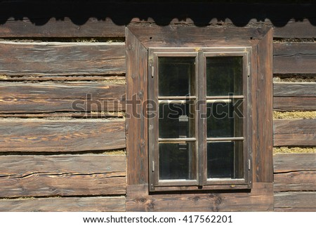 Old dirty wooden window - background - stock photo