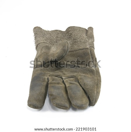 Old Dirty Work Gloves Isolated On White  - stock photo