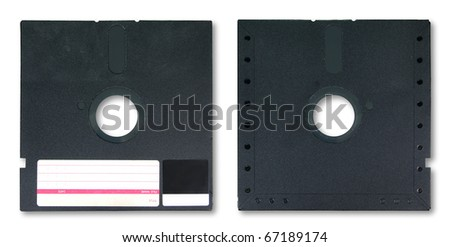 Old diskette 5.25 inches on white background - stock photo