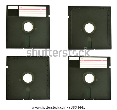 Old diskette 5 25 inches with label isolated on white background - stock photo