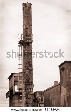 old disused factory with a lot of rust - stock photo