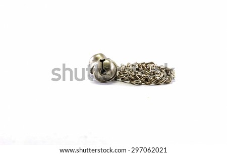 Old dog chain with bells isolated on white background - stock photo