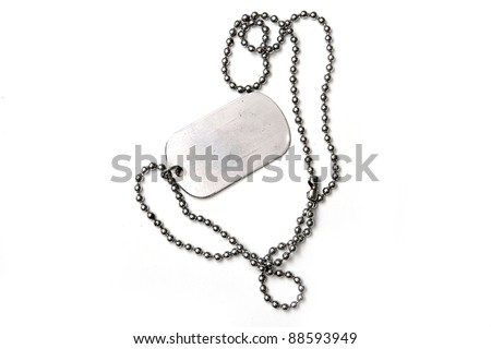 old dog tags on white background - stock photo