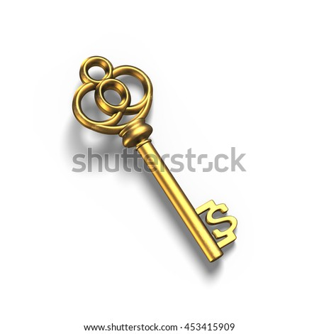 Old dollar shape treasure key in gold, isolated in white background, 3D rendering