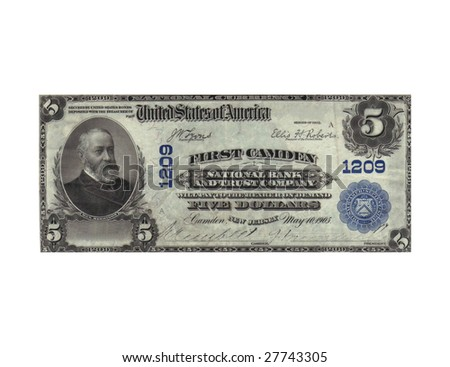Old 5 dollars note from year 1905 - no more in use