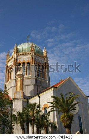 Old domed church (St Augustine Florida) - stock photo