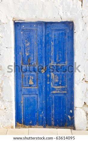 Old door and lock on street - abstract background - stock photo