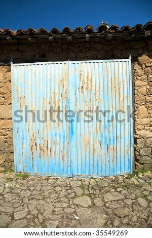old door at san martin village in salamanca spain