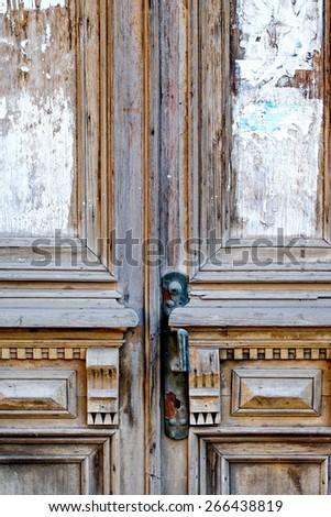 Old door closeup a lot of copyspace - stock photo