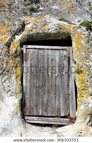 Elegant Old Door From Logs In A Cave Crimean Monastery
