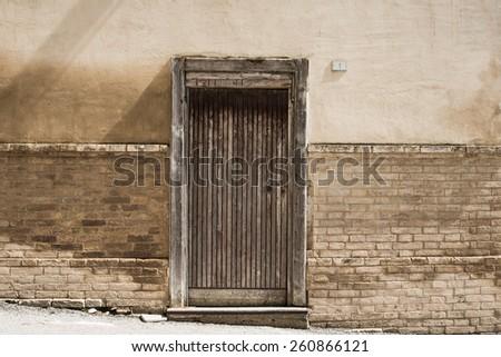 Old door in Umbria - stock photo