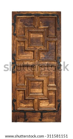 Old door isolated on a white background. - stock photo