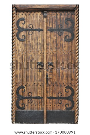 Old door isolated on white - stock photo