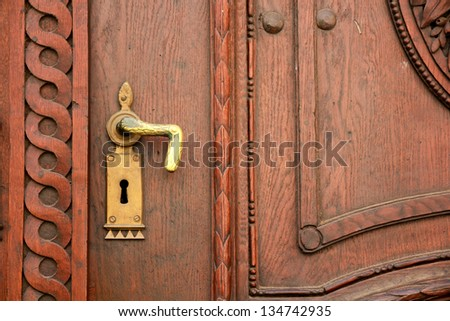 Old door knob close up - stock photo