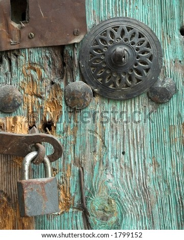 Old door & lock - stock photo
