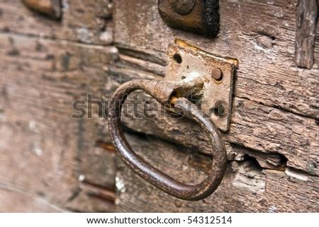 Old door lock - stock photo