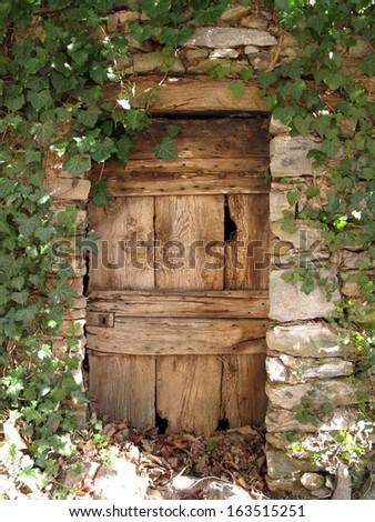 old door made of wood - stock photo
