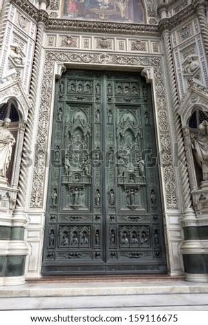 Old Door of Basilica of Santa Maria del Fiore, Florence - stock photo