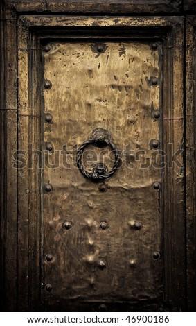 Old door, Rome, Italy - stock photo