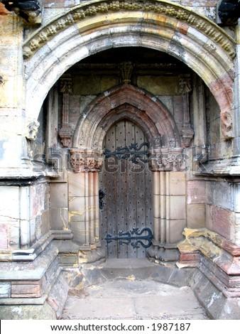 Old Door Rosslyn Chapel - stock photo