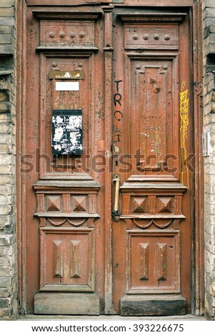 Old door. Vintage photo