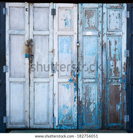 Old door wooden walls vintage - stock photo
