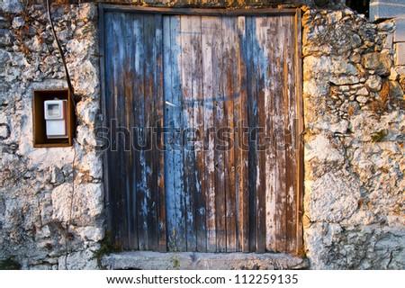 old doors of Crete Greek islands - stock photo