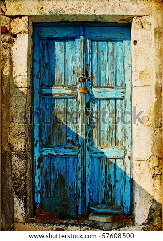 old doors of Greek islands - stock photo