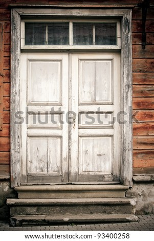 Old doors of the Old Town - stock photo