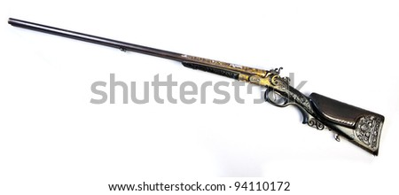 old double-barrelled side by side hunting gun 12 caliber (Bavaria, Munich. XIX century) isolated on white background. - stock photo
