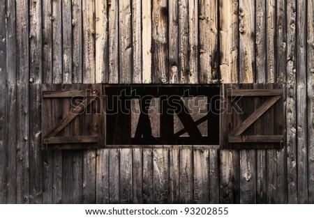 Old Double Door Barn Windows - stock photo