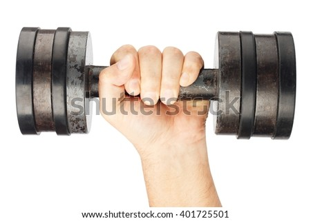 Old dumbbell with removable weights in hand