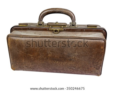 Old dusty and scratched brown doctors bag with handle isolated on white