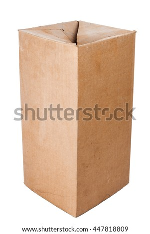 Old dusty brown cardboard box isolated on white background - stock photo